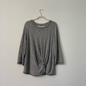 Anthropologie Heather Gray Knot Front Sweater XL